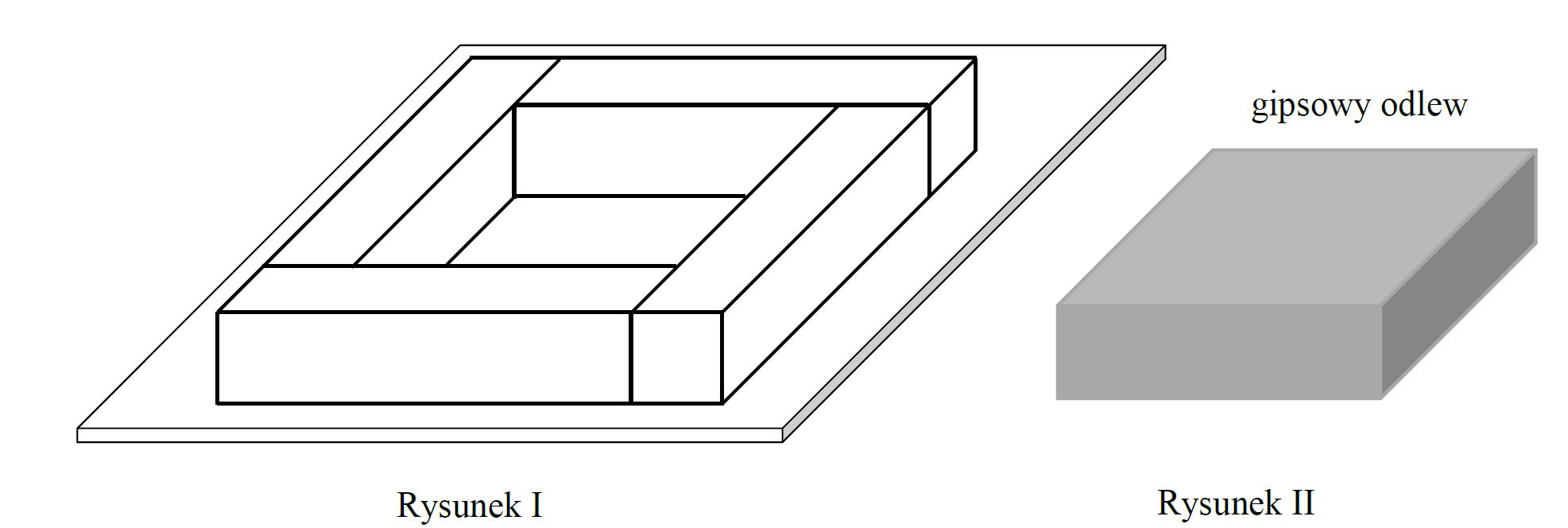 Cztery jednakowe drewniane elementy, każdy w kształcie prostopadłościanu…