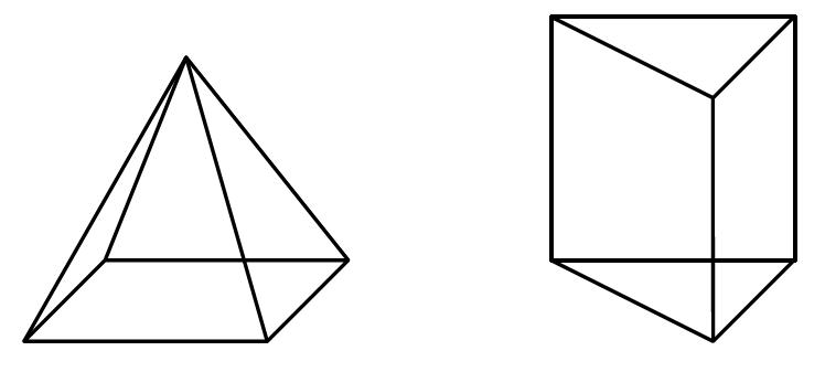 Na rysunkach przedstawiono ostrosłup prawidłowyi graniastosłup prawidłowy.