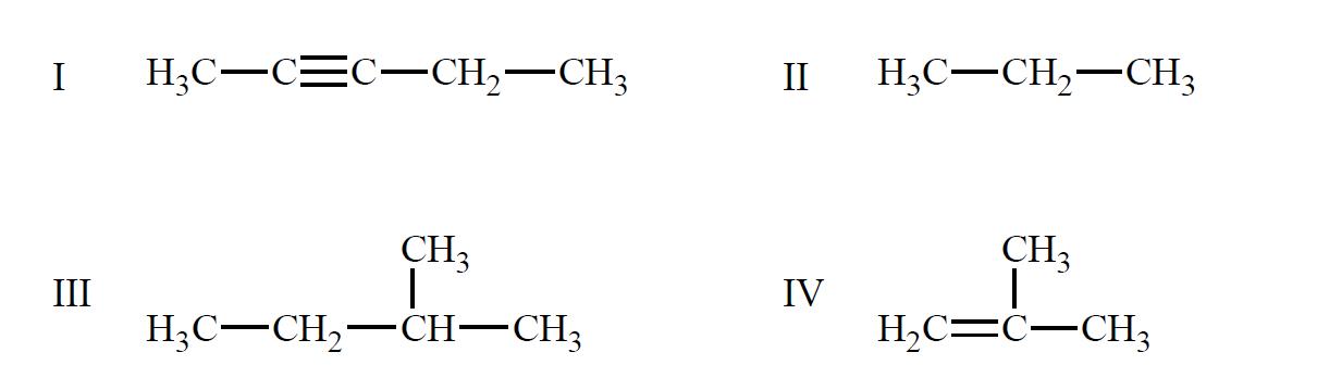 Wzory czterech węglowodorów, oznaczone kolejnymi cyframi rzymskimi I, II, III, IV
