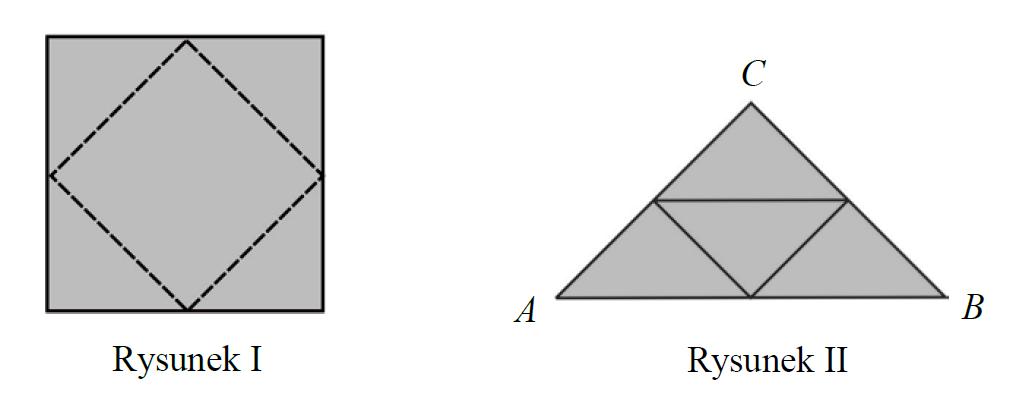 Z kwadratu odcięto trójkąty tak, że linie cięcia przeprowadzono przez środki boków tego kwadratu (rysunek I). Z odciętych trójkątów ułożono trójkąt ABC (rysunek II).