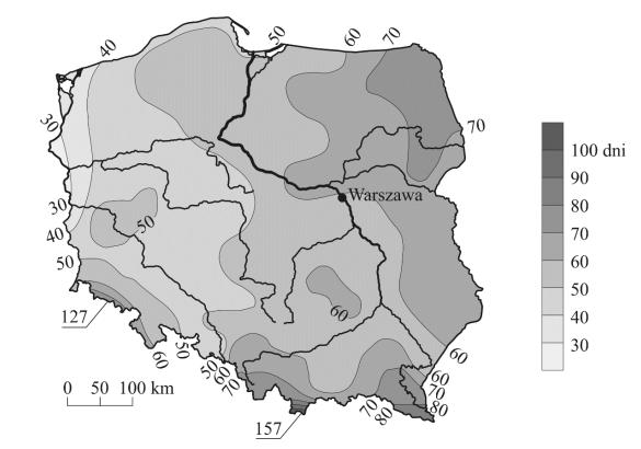 Na mapie przedstawiono średnią roczną liczbę dni z opadem śniegu w Polsce.