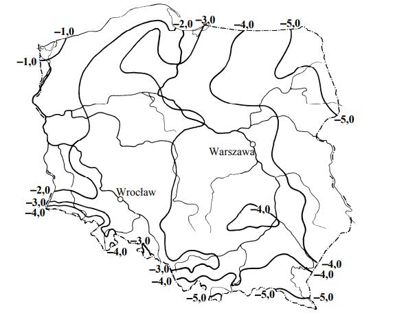 Na mapie przedstawiono rozkład średniej wieloletniej temperatury powietrza w °C w styczniu w Polsce.