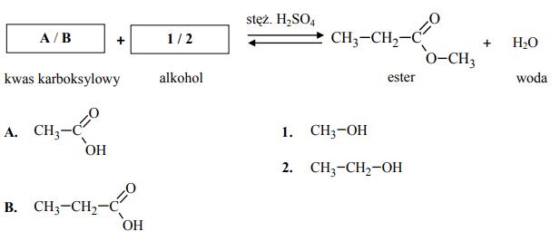 Uzupełnij schemat reakcji estryfikacji. Wybierz spośród podanych wzór kwasu karboksylowego A albo B oraz wzór alkoholu 1 albo 2.