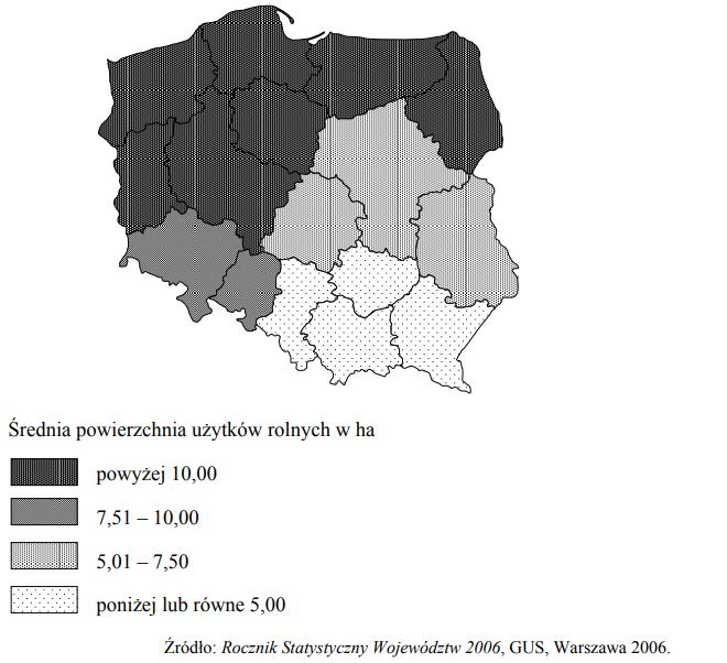 Na mapie przedstawiono średnią powierzchnię użytków rolnych przypadających na jedno gospodarstwo rolne w 2006 roku.