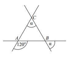 Trzy proste przecinające się w sposób przedstawiony na rysunku tworzą trójkąt ABC. Uzasadnij, że trójkąt ABC jest równoboczny.