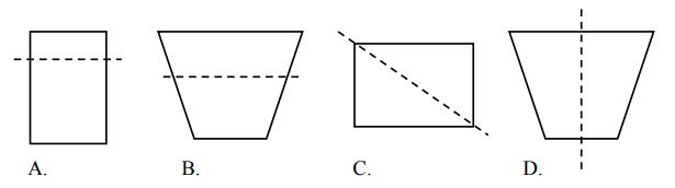 Na którym rysunku zaznaczono oś symetrii figury?