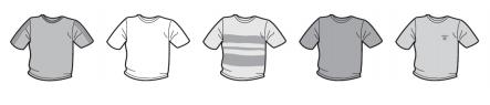 Jaki procent narysowanych poniżej koszulek jest koloru białego?
