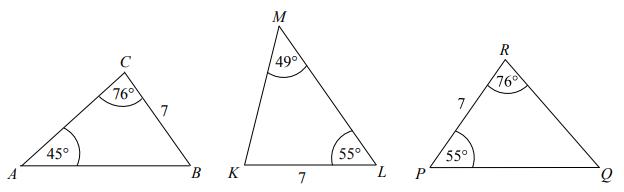 Na rysunku przedstawiono trzy trójkąty.