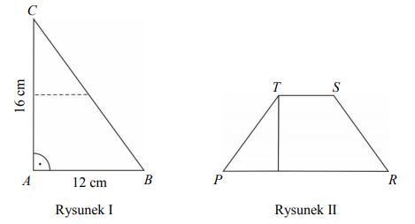 Paweł wyciął z kartonu trójkąt prostokątny ABC o przyprostokątnych 12 cm i 16 cm (rysunek I). Następnie połączył środki dłuższej przyprostokątnej i przeciwprostokątnej linią przerywaną równoległą do krótszej przyprostokątnej, a potem rozciął trójkąt ABC wzdłuż tej linii na dwie figury. Z tych figur złożył trapez PRST (rysunek II).