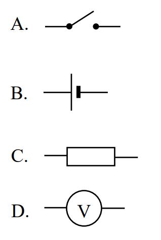 Żarówka w obwodzie zaświeci, jeżeli w zaznaczonym miejscu obwodu wstawimy element oznaczony symbolem