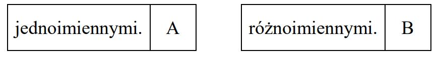 Dwa jednakowe baloniki zawieszono na nitkach. Gdy baloniki naelektryzowano, to oddaliły się od siebie tak, jak przedstawiono na rysunku.