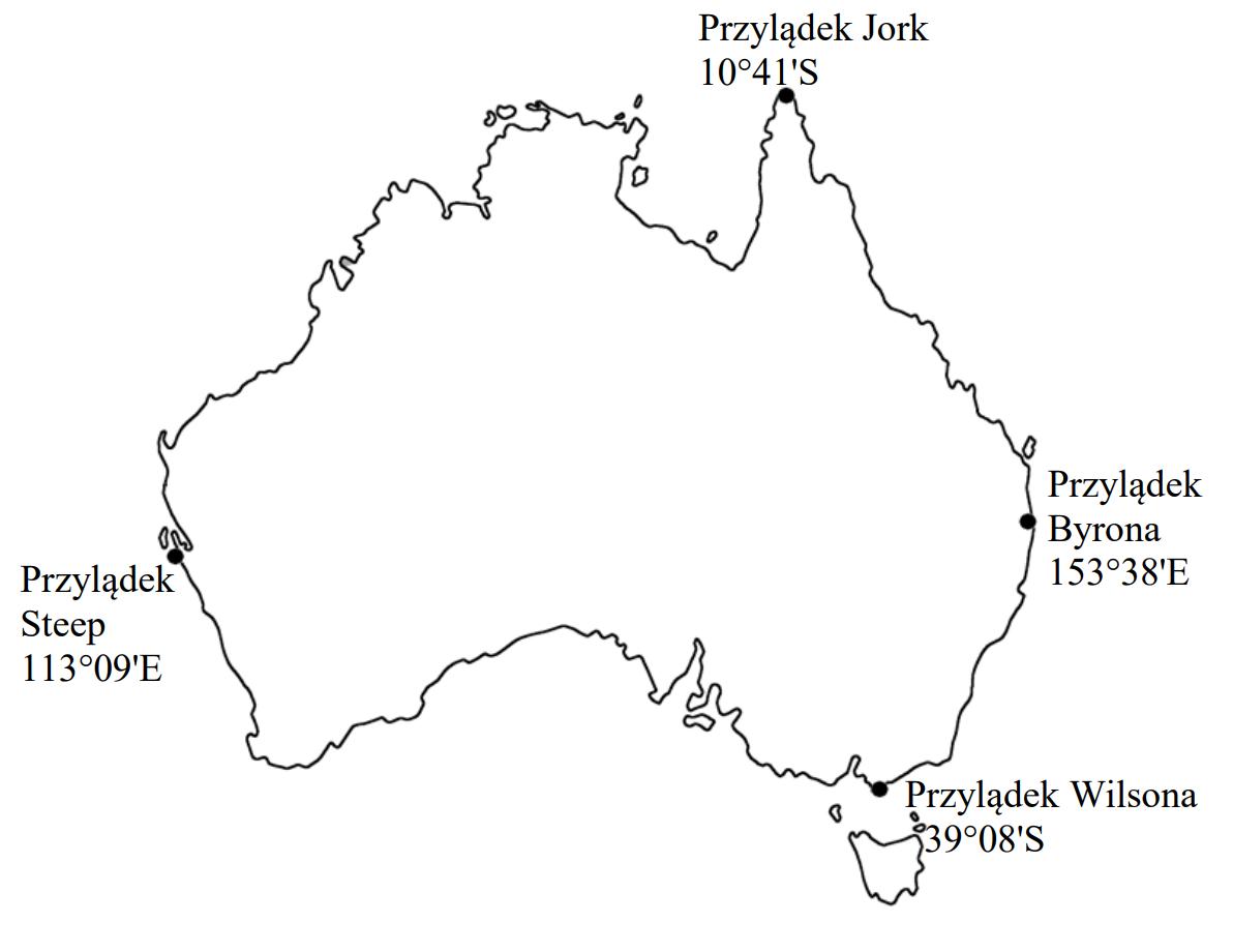 Na mapie przedstawiono wybrane współrzędne geograficzne skrajnych punktów Australii.