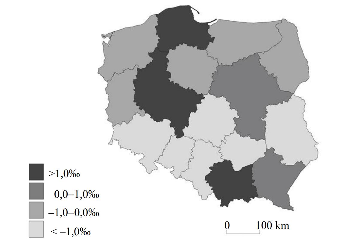 Na mapie przedstawiono przyrost naturalny w województwach w Polsce w 2016 roku.