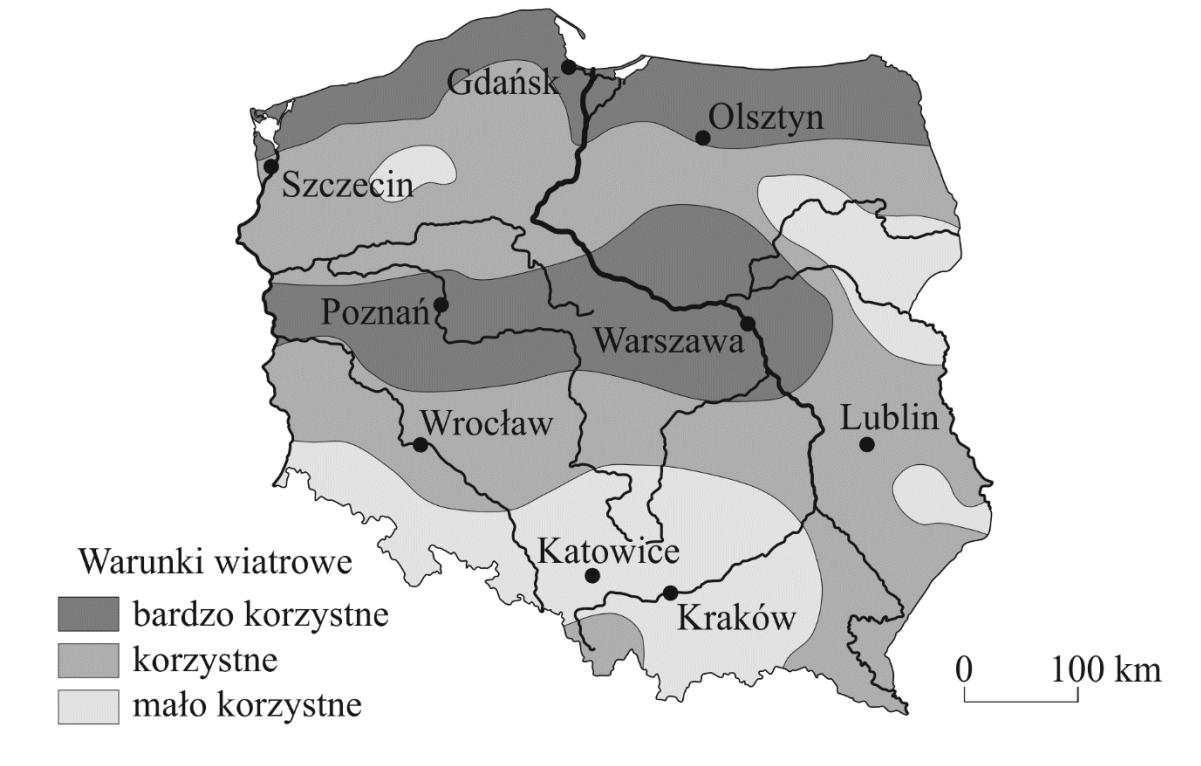Na mapie przedstawiono informacje o warunkach wiatrowych w Polsce dla rozwoju farm wiatrowych.