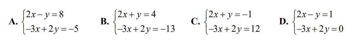 Para liczb (3, –2) spełnia układ równań