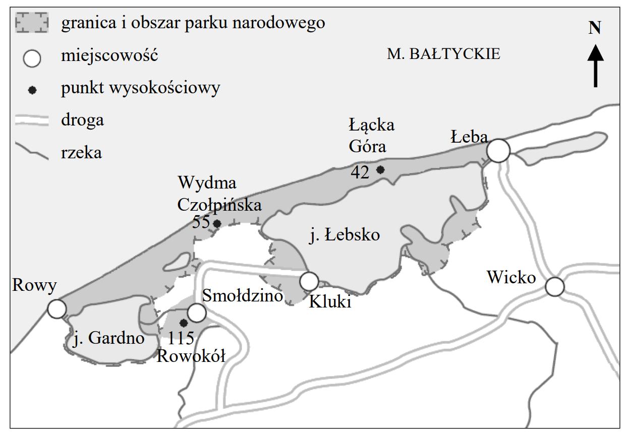 Na mapie przedstawiono granice i obszar pewnego parku narodowego w Polsce.