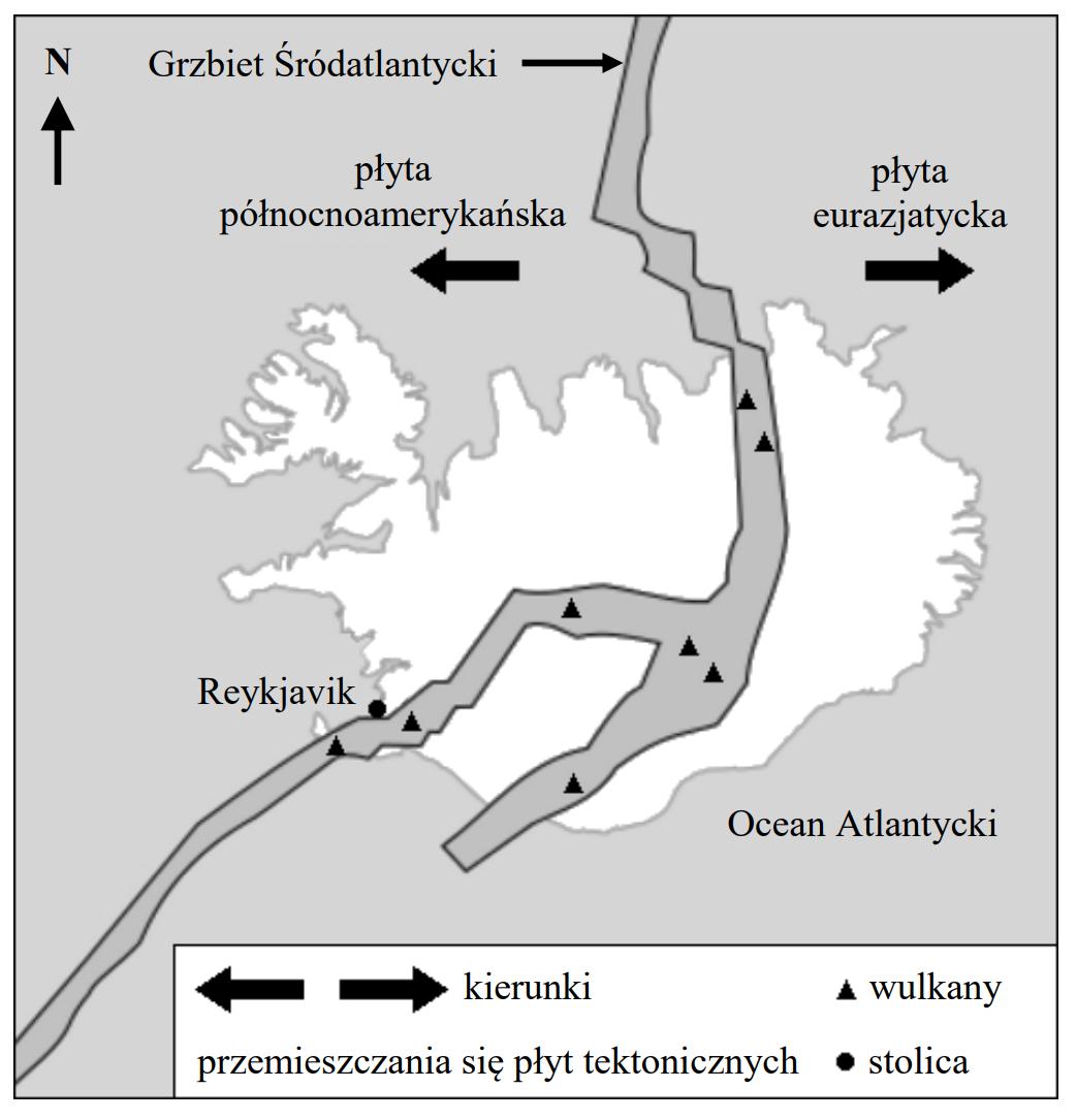 Na mapie przedstawiono położenie wyspy Islandia na tle zasięgu płyt tektonicznych północnej części Oceanu Atlantyckiego.
