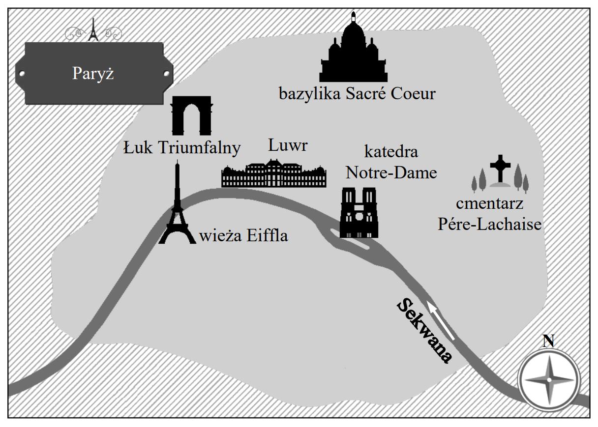 Bazylika Sacré Coeur znajduje się w północnej części Paryża. Luwr jest położony na lewym brzegu Sekwany.