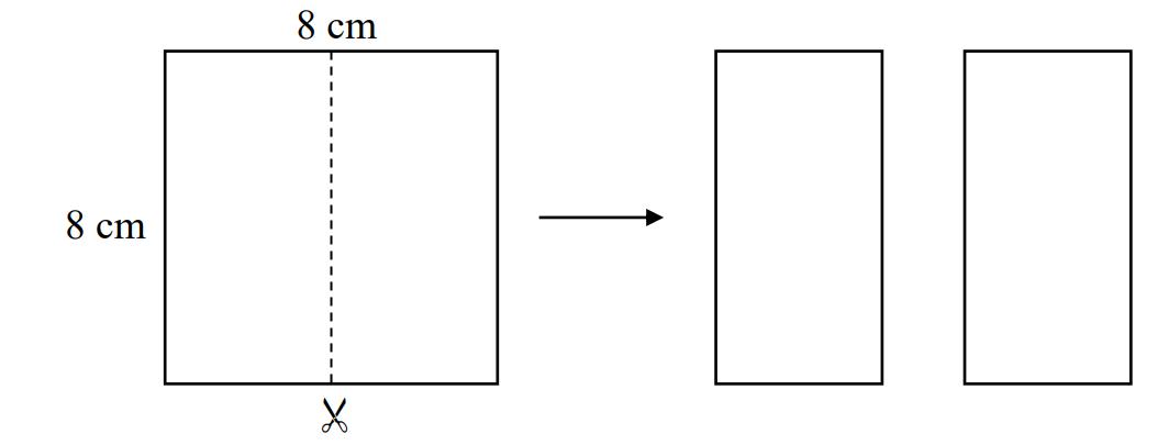 Kwadrat o boku 8 cm rozcięto na dwa przystające prostokąty.
