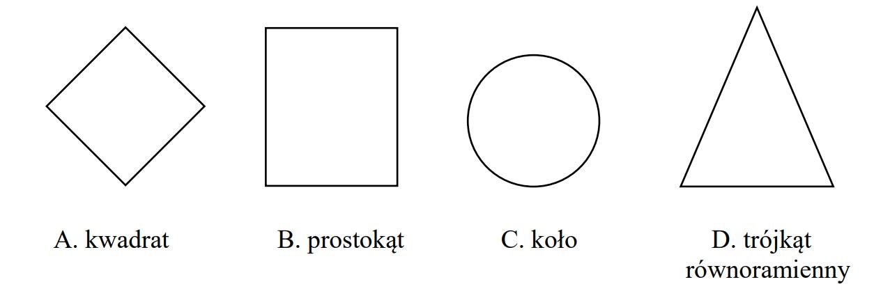 Która z narysowanych figur ma tylko jedną oś symetrii?