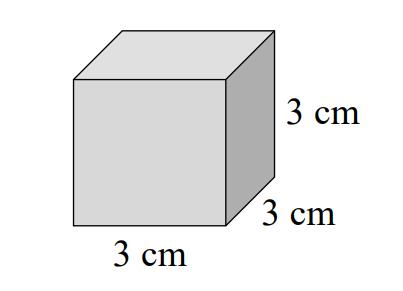 Drewniany klocek w kształcie sześcianu ma wymiary podane na rysunku.