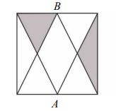 Punkty A i B są środkami boków kwadratu o polu…