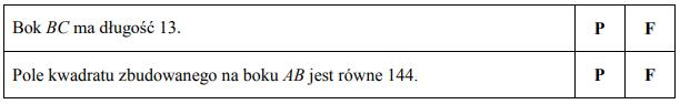 Pole kwadratu zbudowanego na boku BC jest równe 169, a pole kwadratu zbudowanego na boku AC jest równe 25.