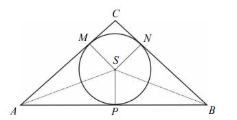 W trójkąt równoramienny ABC ( AC BC = ) wpisano okrąg o środku S. Punkty wspólne okręgu i trójkąta oznaczono literami M, N i P.
