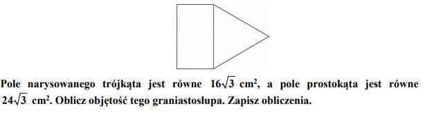 Oblicz objętość tego graniastosłupa.