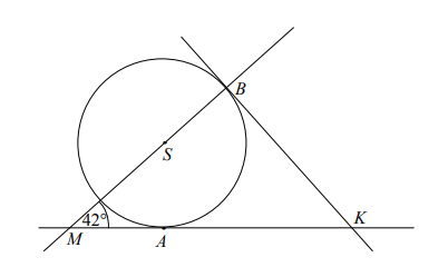 Proste KA i KB są styczne do okręgu o środku S w punktach A i B, a kąt BMA ma miarę 42°