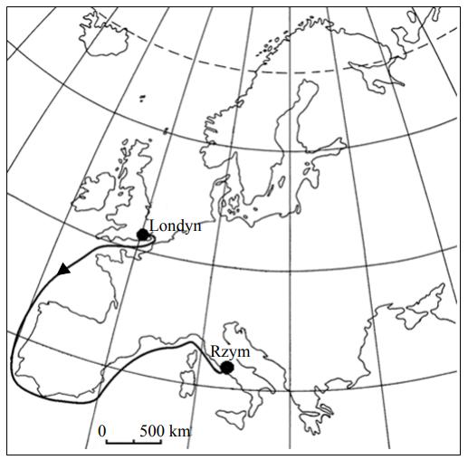Bartek wraz z rodzicami wybrał się na wycieczkę z Londynu do Rzymu. Poniższa mapa przedstawia trasę jego podróży.