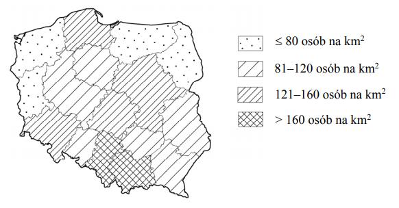 W 2011 roku średnia gęstość zaludnienia była największa w województwach małopolskim i opolskim. Im większa powierzchnia województwa, tym większa gęstość zaludnienia.