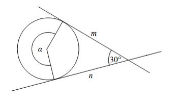 Proste m i n są styczne do okręgu i przecinają się pod kątem 30°…