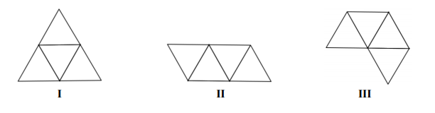 Które wielokąty – I, II, III – przedstawiają siatki bryły takiej, jaką pokazano na powyższych rysunkach?