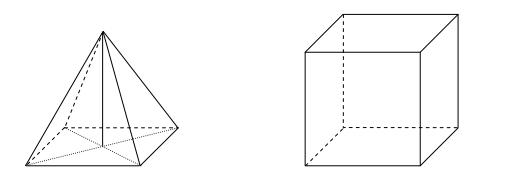 Na rysunku przedstawiono ostrosłup prawidłowy czworokątny i sześcian. Bryły mają jednakowe podstawy i równe wysokości, a suma objętości tych brył jest równa 36 cm3.