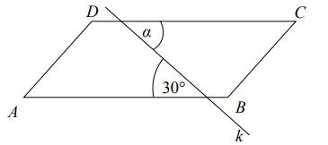 Na rysunku przedstawiano równoległobok ABCD przecięty prostą k. Miara kąta α jest równa…