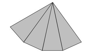 Na rysunku przedstawiono fragment siatki ostrosłupa prawidłowego. Nie narysowano figury, która jest podstawą tego ostrosłupa.